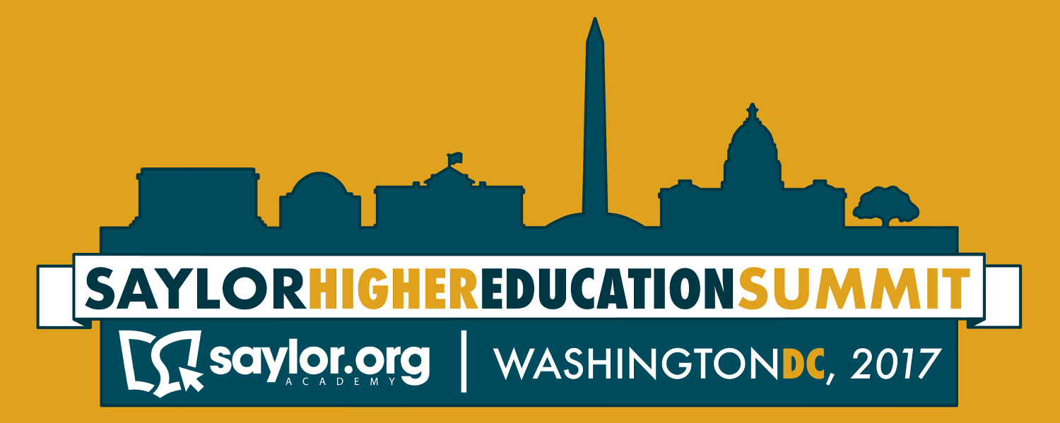 The Saylor Higher Education Summit will take place in Washington, DC in June 2017. Visit https://summit.saylor.org for complete details.
