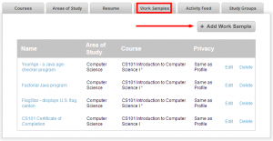 Image showing the work samples function of the ePortfolio