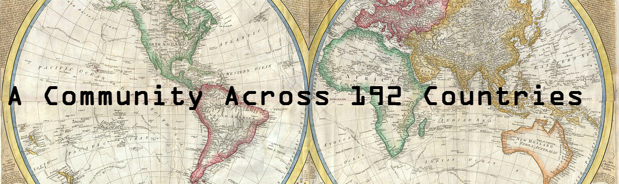 "Banner image showing a map of the world with text ""a community across 192 countries"""