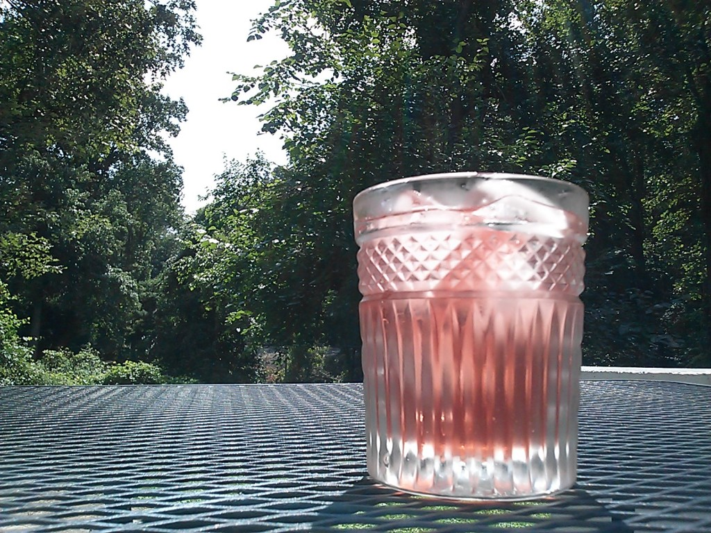 An iced drink in front of deep green trees.