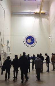 Visitors stand inside the Acoustic Test Chamber in Building 29 at NASA Goddard Space Flight Center