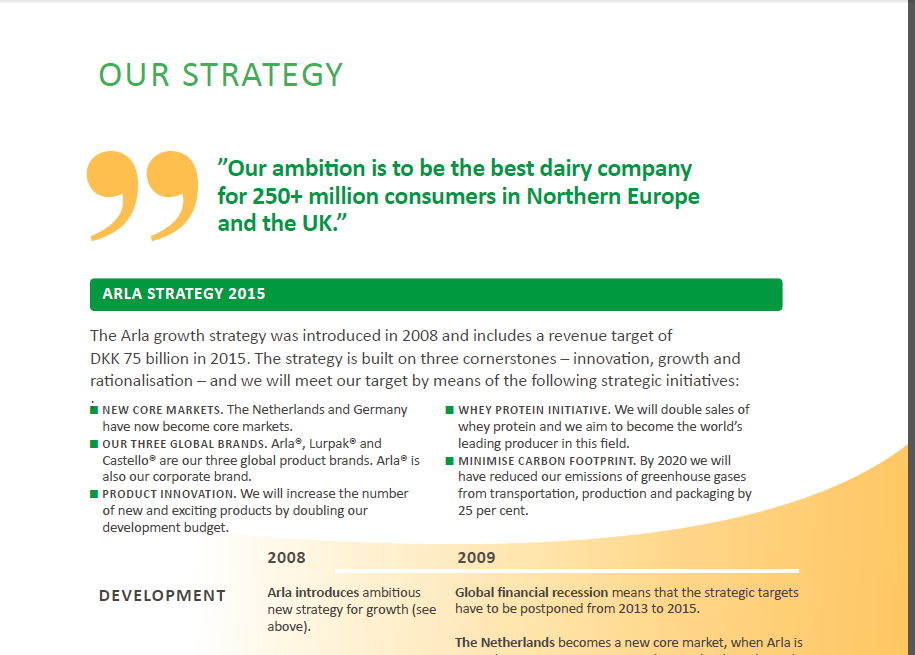 Image of a section of an annual report from Arla (www.arla.com).