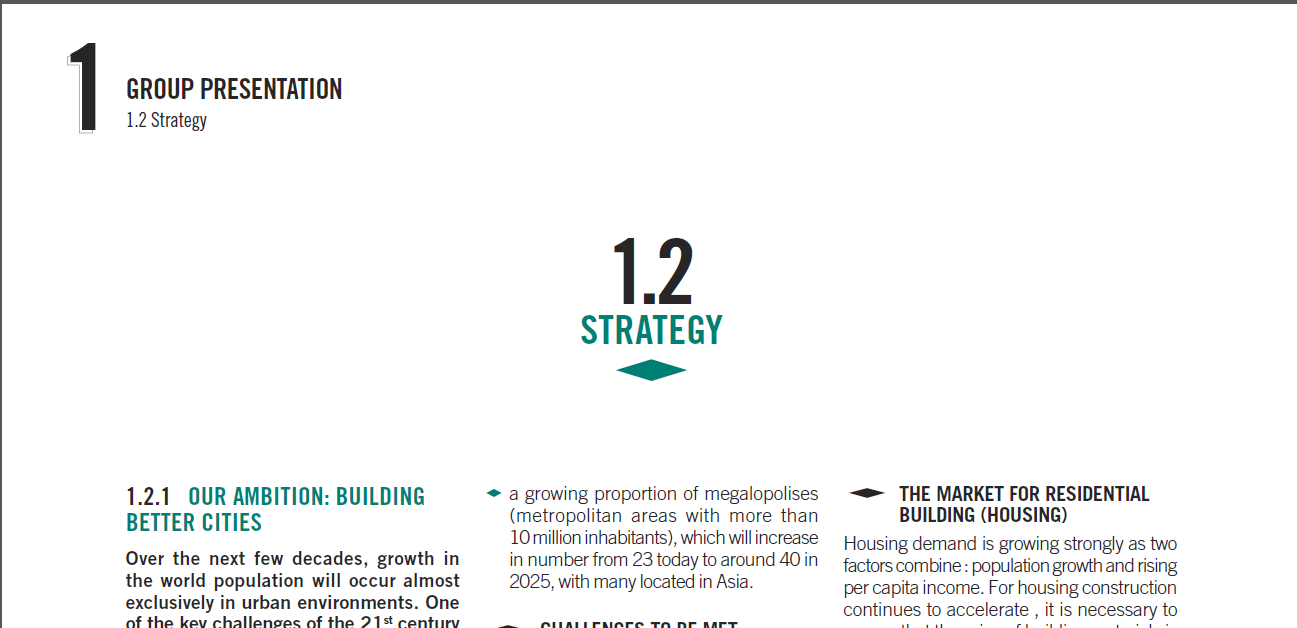 Image of a section of an annual report of Lafarge (www.lafarge.com).