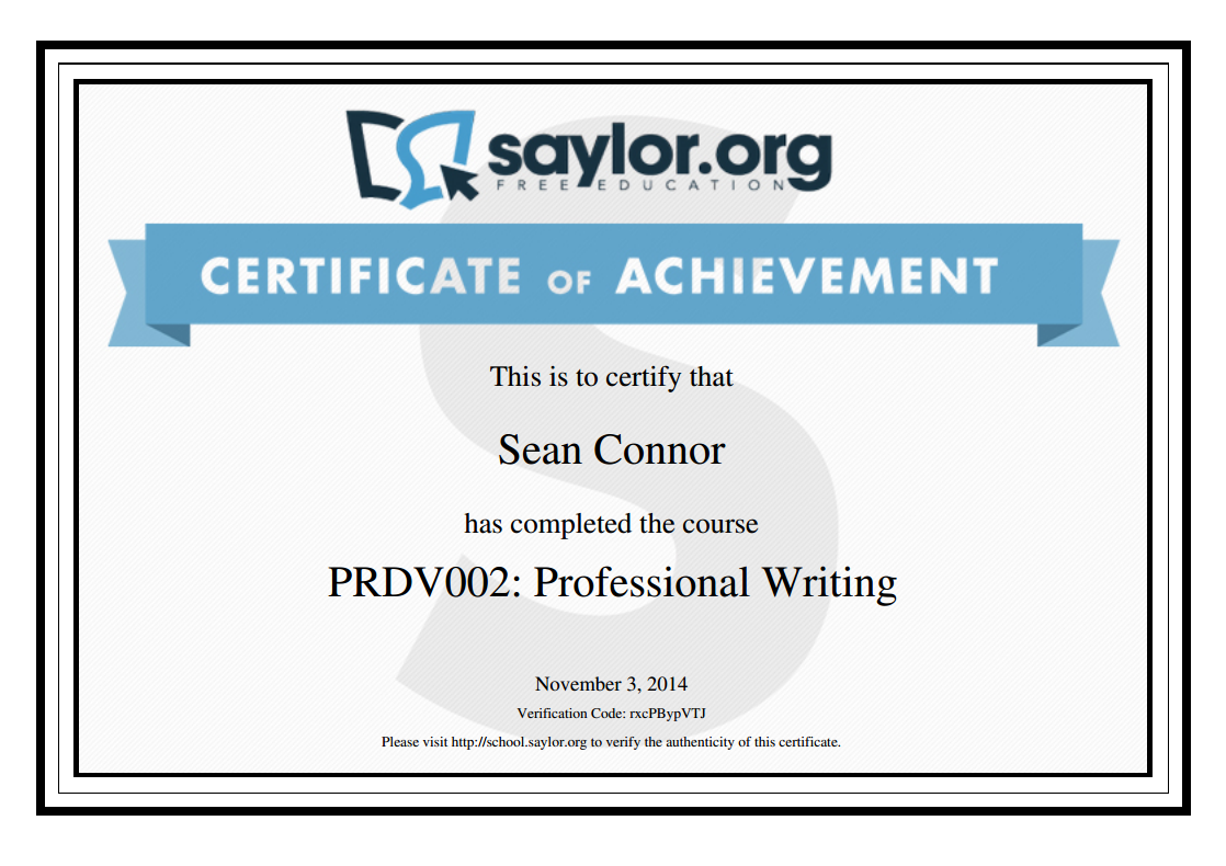 Sample certificate saylor academy free and open online courses saylor academy sample certificate yelopaper Image collections