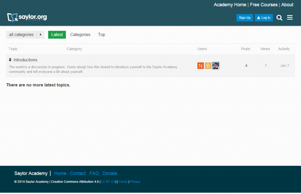 Screenshot of new Saylor Academy forums