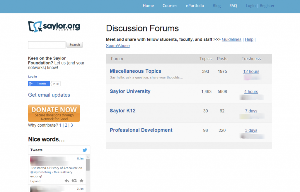 Screenshot of old Saylor Academy forums