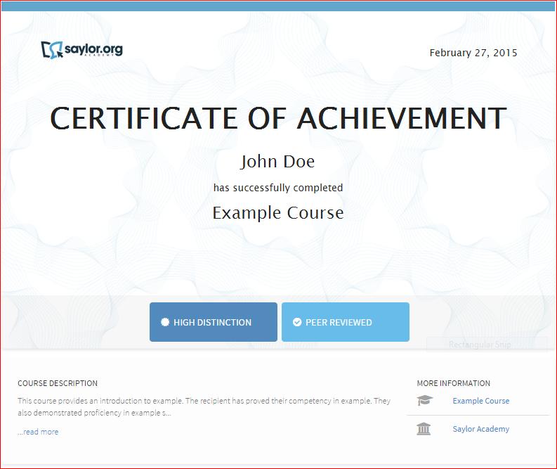 Saylor Academy Sample Certificate