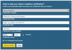 Add certificate to LinkedIn