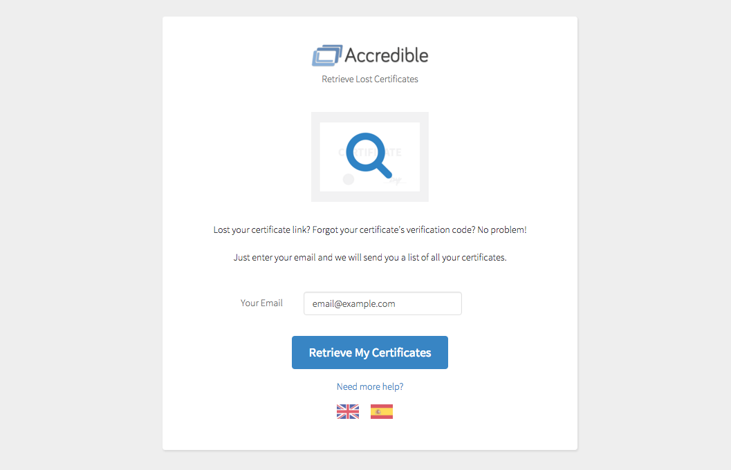 Accredible Find My Certificate