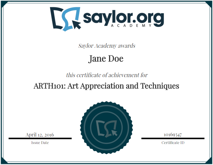 Sample Art History 101 certificate