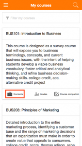 moodle mobile screenshot - my courses