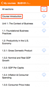 moodle mobile screenshot - course outline