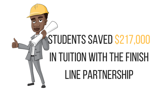 Students saved $217,000 in tuition with the Finish Line partnership