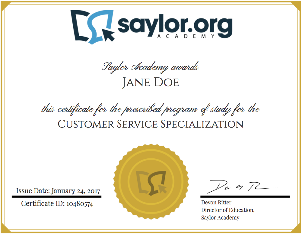Image of an example program certificate for the Customer Service Specialization