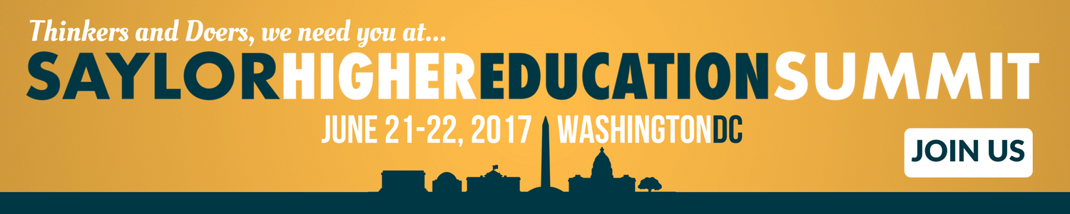 "Banner containing the Washington DC skyline with the text ""Thinkers and Doers, we need you at the Saylor Higher Education Summit. Join us in Washington, DC, on June 21st and 22nd."" More details at summit.saylor.org"