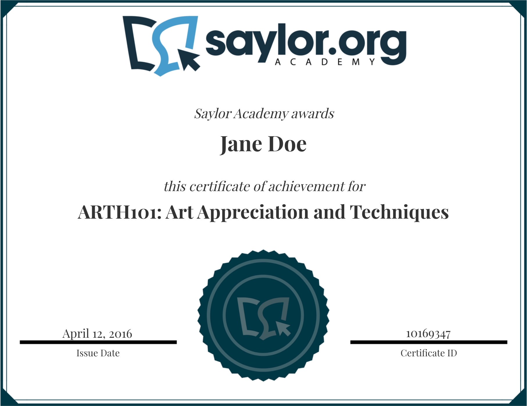 Course Completion Certificates | Saylor Academy